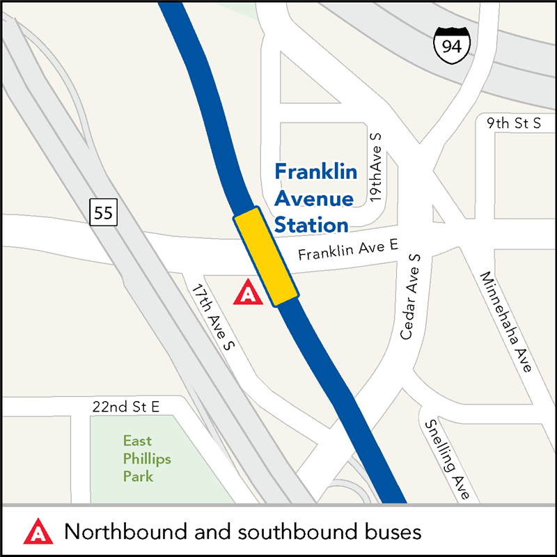 Board buses to Mall of America and Target Field on eastbound Franklin Ave at Franklin Ave Station.
