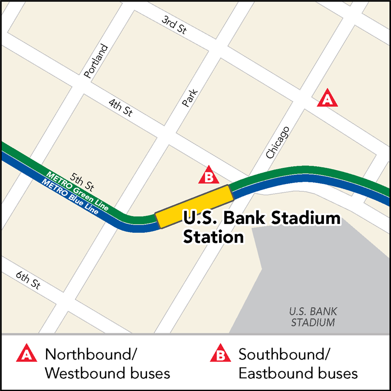 Southbound/Westbound buses can be caught at 4th Street and Chicago Avenue. Northbound/Eastbound buses can be boarded at northeast corner of 3rd street and Chicago Avenue