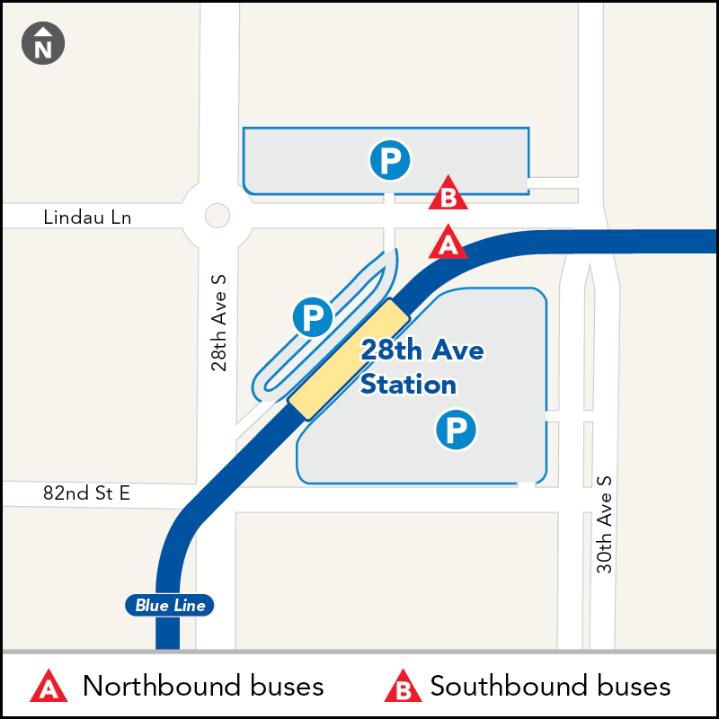 Board buses to Mall of America westbound on Lindau Lane between 30th Ave and 28th Ave. Board buses to Target Field eastbound on Lindau Lane between 28th Ave and 30th Ave.