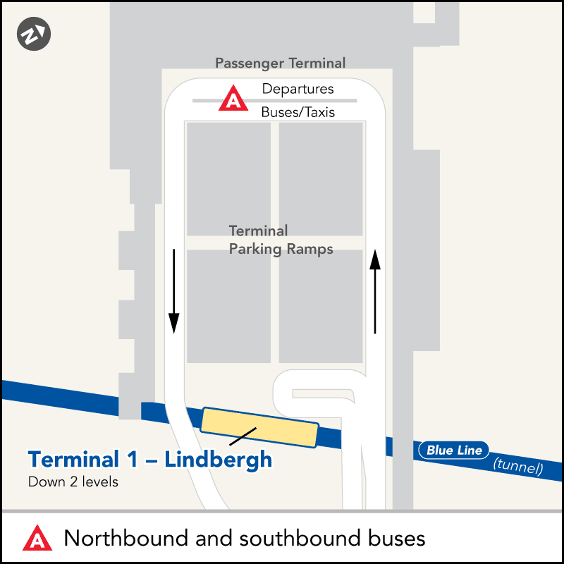Board buses to Mall of America and Target Field at the Terminal 1 - Airport bus stop. From the Ground Transportation area, follow signs for the Gold Ramp. Go up two levels to the waiting area. Bus stop is located across the pedestrian crossing from the building (at the bus shelter).