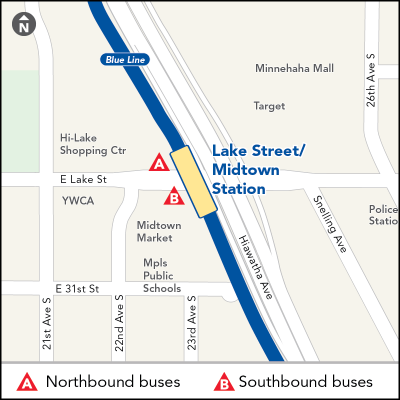 Board buses to Mall of America on eastbound Lake St at Lake St - Midtown Station. Board buses to Target Field on westbound Lake St just past Lake St - Midtown Station.