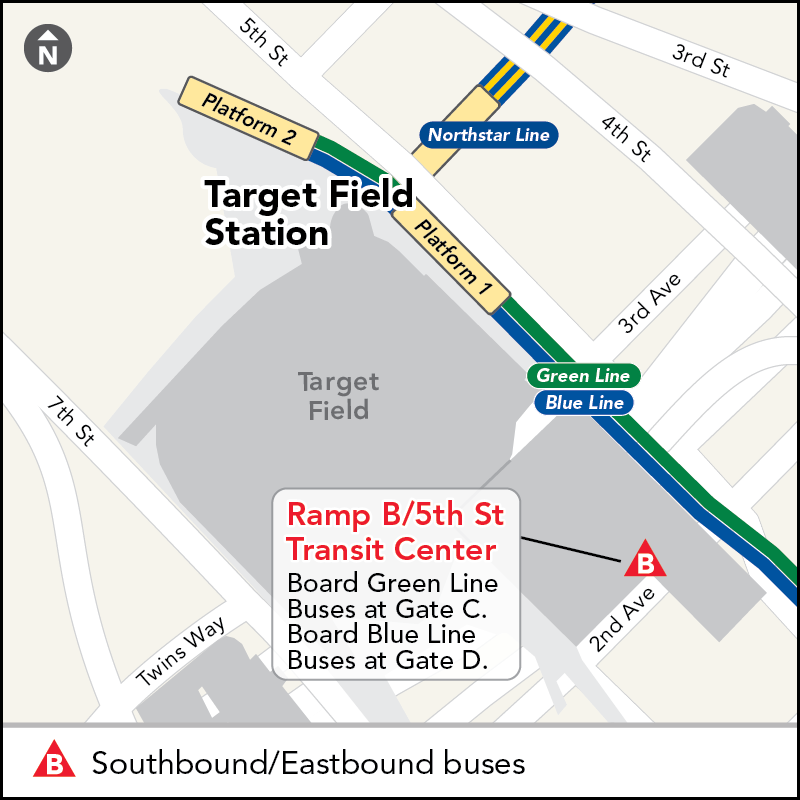 For Target Field Station: Go to Ramp B - 5th Street Transit Center. Board Green Line Buses at Gate C. Board Blue Line Buses at Gate D.
