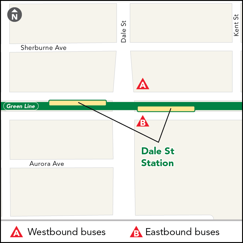Board buses to Target Field on westbound University Ave at Dale St. Board buses to Union Depot on eastbound University Ave just past Dale St.