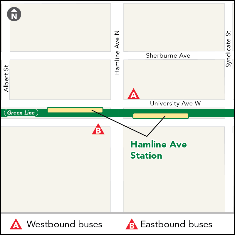 Board buses to Target Field on westbound University Ave at Hamline Ave. Board buses to Union Depot on eastbound University Ave at Hamline Ave.