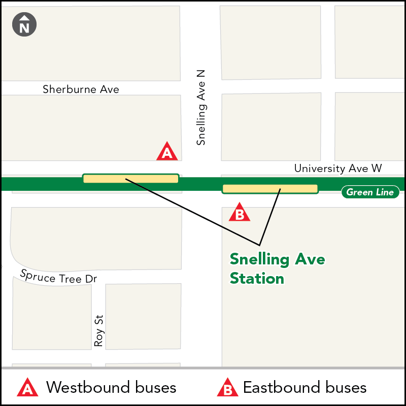 Board buses to Target Field on westbound University Ave just past Snelling Ave. Board buses to Union Depot on eastbound University Ave just past Snelling Ave.