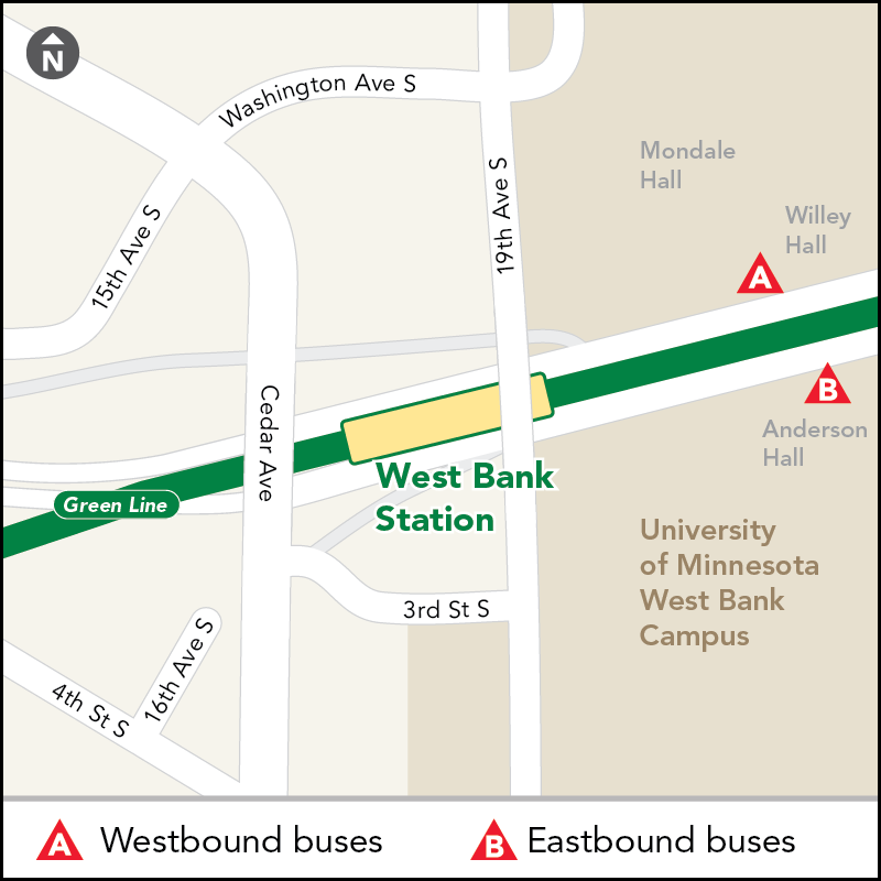 Board buses to Target Field on westbound Washington Ave outside Willey Hall. Board buses to Union Depot on eastbound Washington Ave just past 19th Ave S (outside Blegen Hall/Anderson Hall).