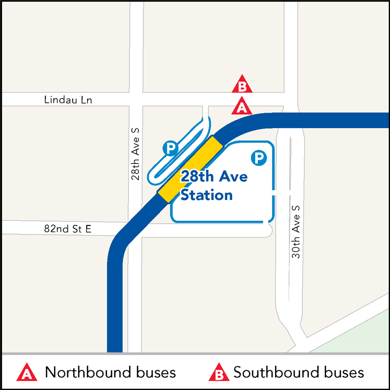 Board buses to Mall of America on westbound Lindau Lane between 30th Ave and 28th Ave. Board buses to Target Field on eastbound Lindau Lane between 28th Ave and 30th Ave.