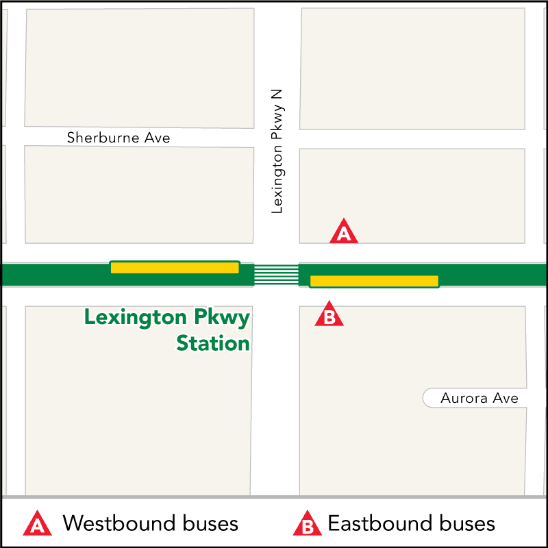 Board buses to Target Field on westbound University Ave at Lexington Pkwy. Board buses to Union Depot on eastbound University Ave just past Lexington Pkwy.