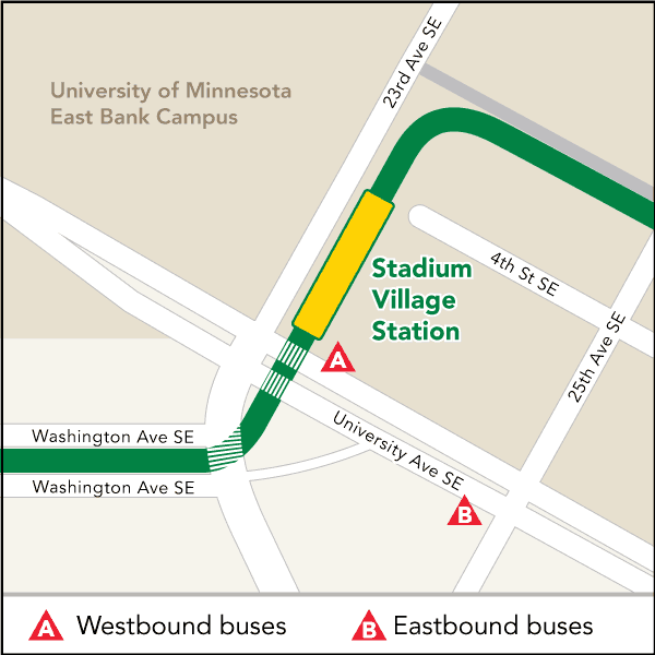 Board buses to Target Field on westbound University Ave SE at 23rd Ave SE. Board buses to Union Depot on eastbound University Ave SE at 25th Ave SE.