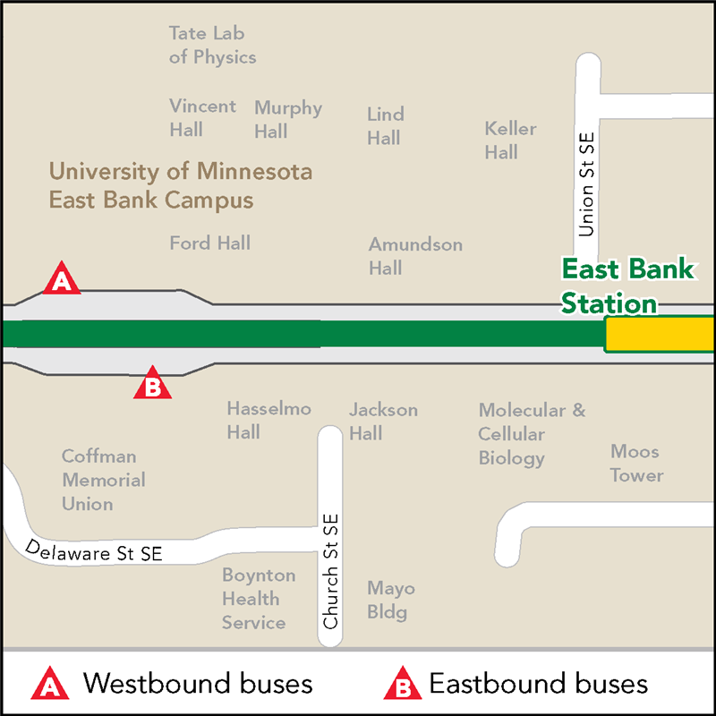 Board buses to Target Field on westbound SE Washington Ave across from Coffman Memorial Union. Board buses to Union Depot on on eastbound SE Washington Ave outside Coffman Memorial Union.