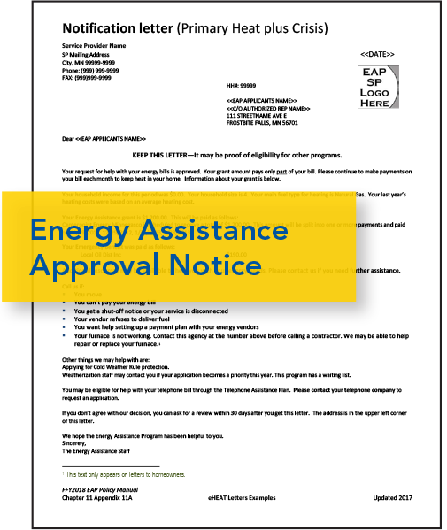 Image of Energy Assistance Approval Notice letter