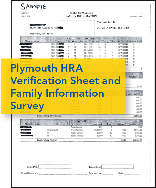 Image of Plymouth HRA Verification Sheet and Family Information Survey