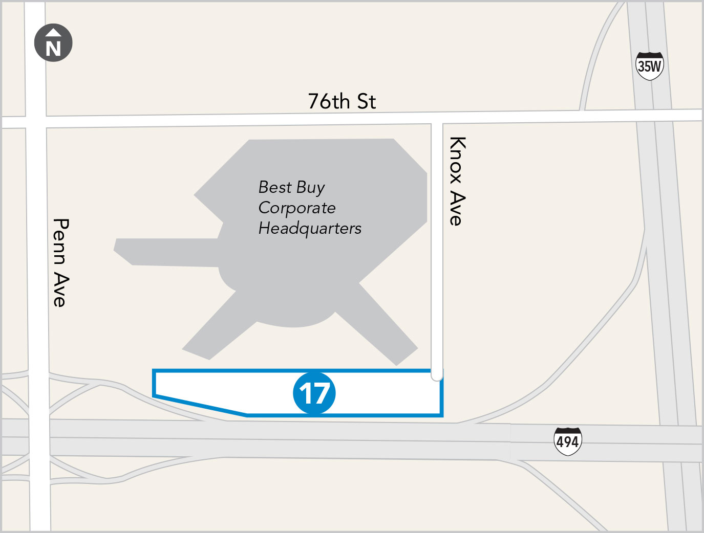 map of Knox Avenue Park & Ride