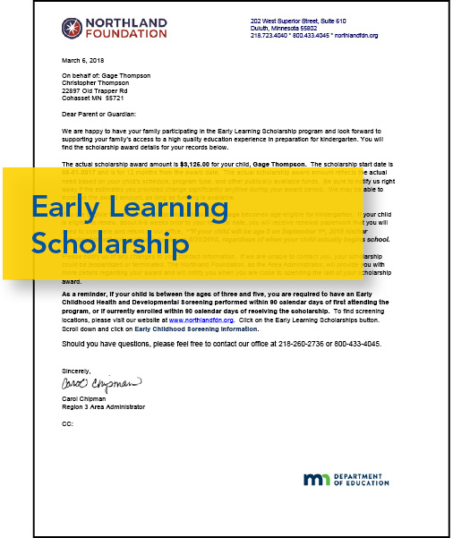 Image of Early Learning Scholarship letter