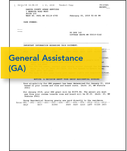 Image of General Assistance Supplimental Aid document