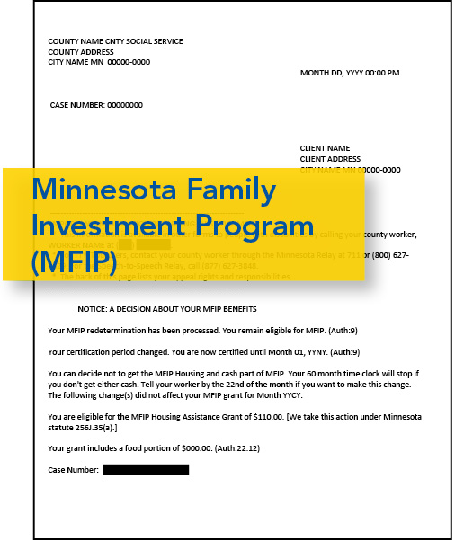Image of MFIP Approval Notice
